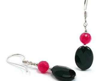 Black Onyx, Ruby Red Jade, Silver Earrings. Faceted Black Onyx Oval, Ruby Red Jade, Sterling Silver, Beaded, Gemstone, Dangle Earrings.