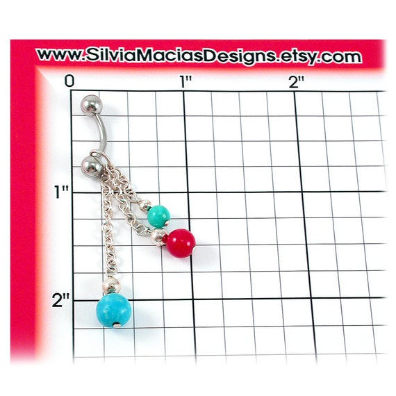 Red Coral Belly Ring Turquoise Turquoise Southwest Red Coral Body Jewelry December Birthstone Sterling Silver Beaded Dangle Belly Ring