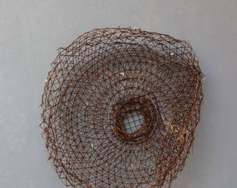 Fishing Net, Abstract Art, Beach Finds Installation - Fish Net, Rust - Wall Hanging