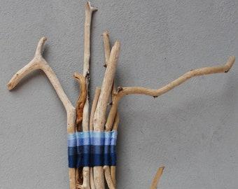 Natural Handwoven Driftwood Sticks, Ombré Blue, Sea Ocean Colors, Beach Home Decor, Driftwood Decor, Lucky 7