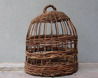 Basket Bird Cage, Partridge Bird cage, Cottage chic, Vintage Handmade Basket, Rustic Home decor, Basket Home Decor