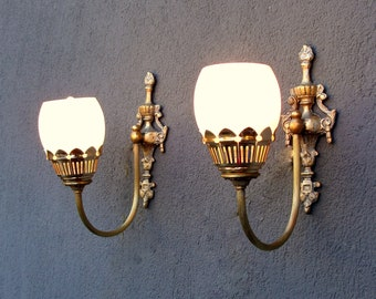 2 Colonial Sconces, Pair of Wall Sconces, Lamps, Brass Set of Wall Lights, Lighting, Vintage Brass Decor, Vintage 1960's