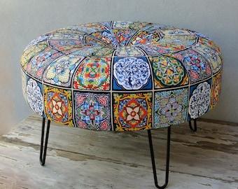 Bohemian Tile Pattern Ottoman, Hair Pin legs Ottoman, Round Pouf Bohemian Wooden Furniture Global Textile, Mandala