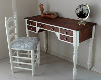 Vintage Writing Desk with Chair, Country French Farmhouse, Cherry Wood Writing Desk Vintage Furniture, Cottage Style 1930s