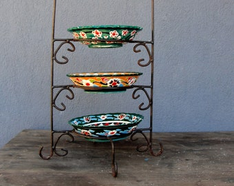 Vintage Ceramic Three tier Plates Holder, Earthenware Plates, Hand Painted Pottery from Turkey Kutahya, Home decor, Vintage  1980s