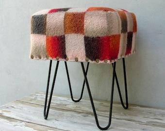Felt Geometric Patterned Stool Ottoman, Hair Pin legs Ottoman, Checkered Retro Pouf Bohemian Furniture Global Textile