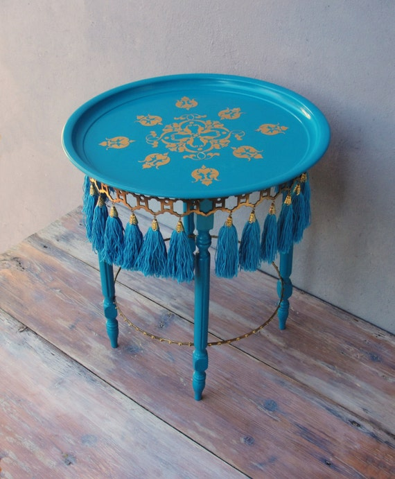 best loved 0900b 990a5 Oriental Tassel Side table, Bohemian End table with Tassels, Brass and  Teal, Wooden Furniture, Handmade Furniture Sidetable