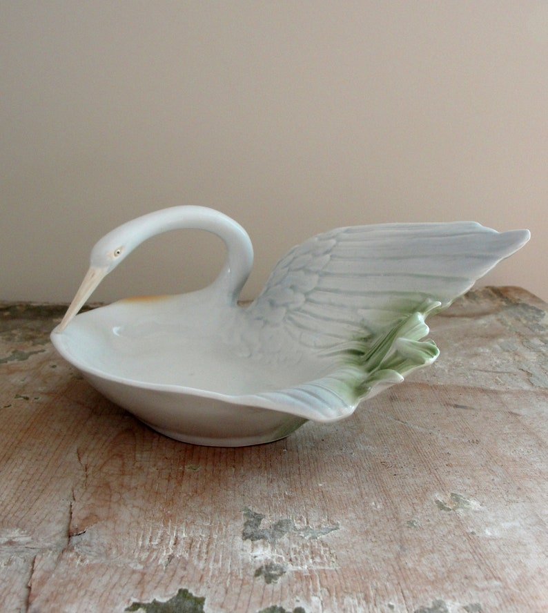 Vintage Fitz And Floyd Swan Dish Bird Soap Dish Ceramic image 0