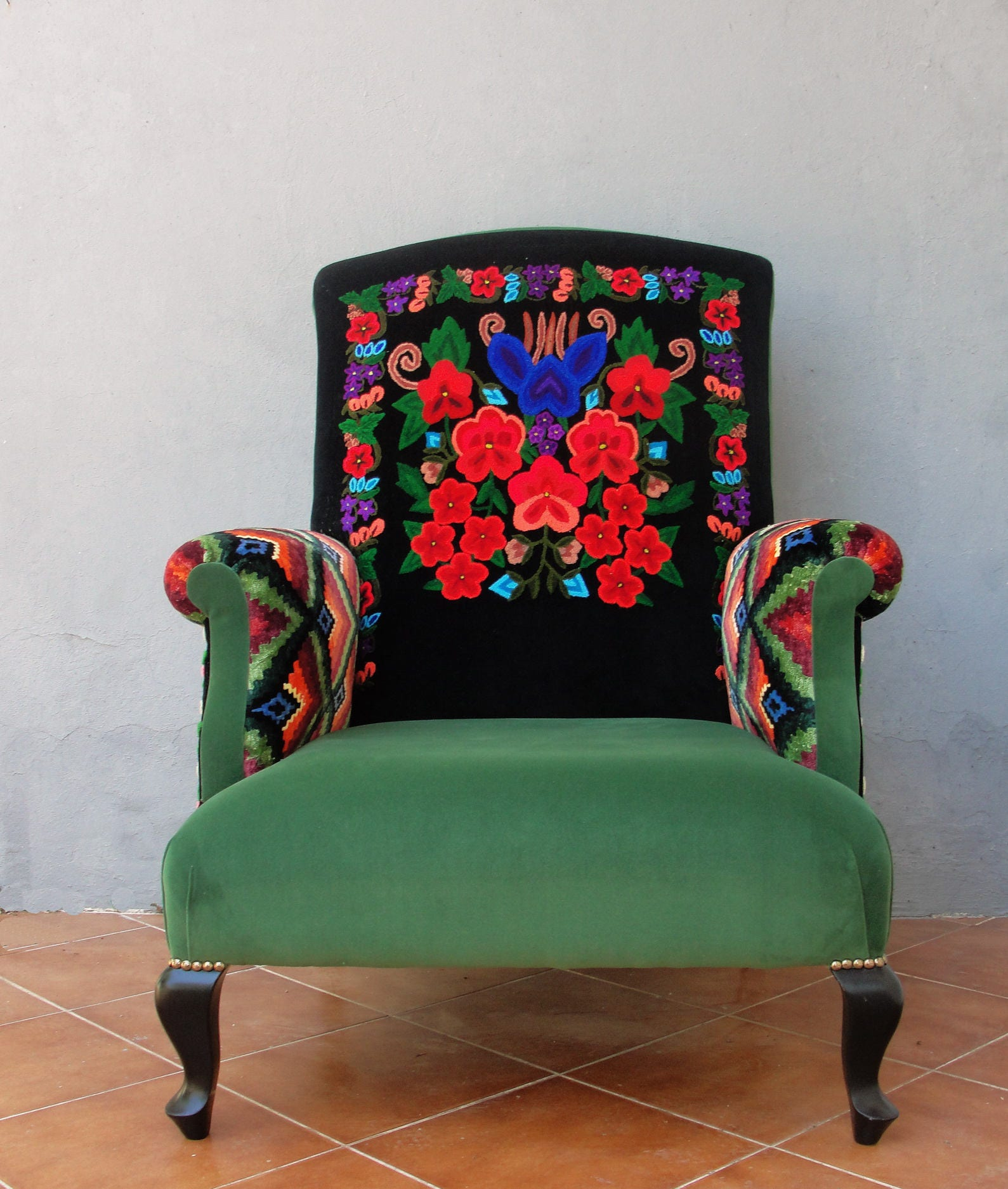 Bohemian Furniture: Embroidered Armchair Colorful Bohemian Embroidery