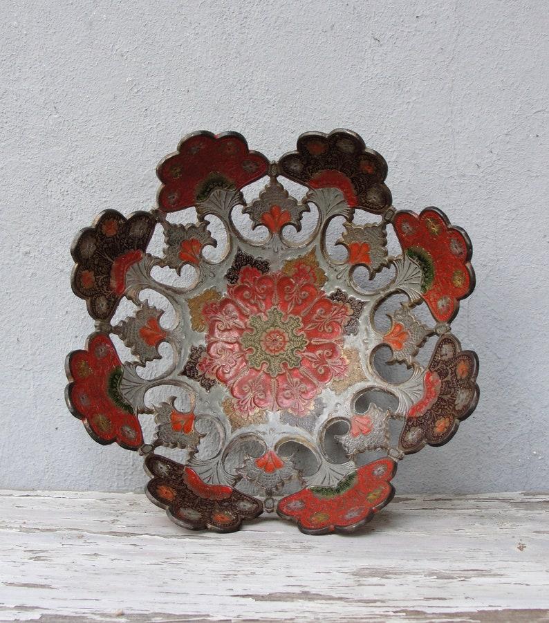 Vintage Enamel Plate Hand Enameled Brass Plate Wall decor image 0