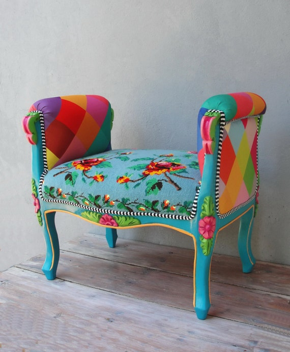 Rainbow Bench Bohemian Vanity Chair Embroidered Flower