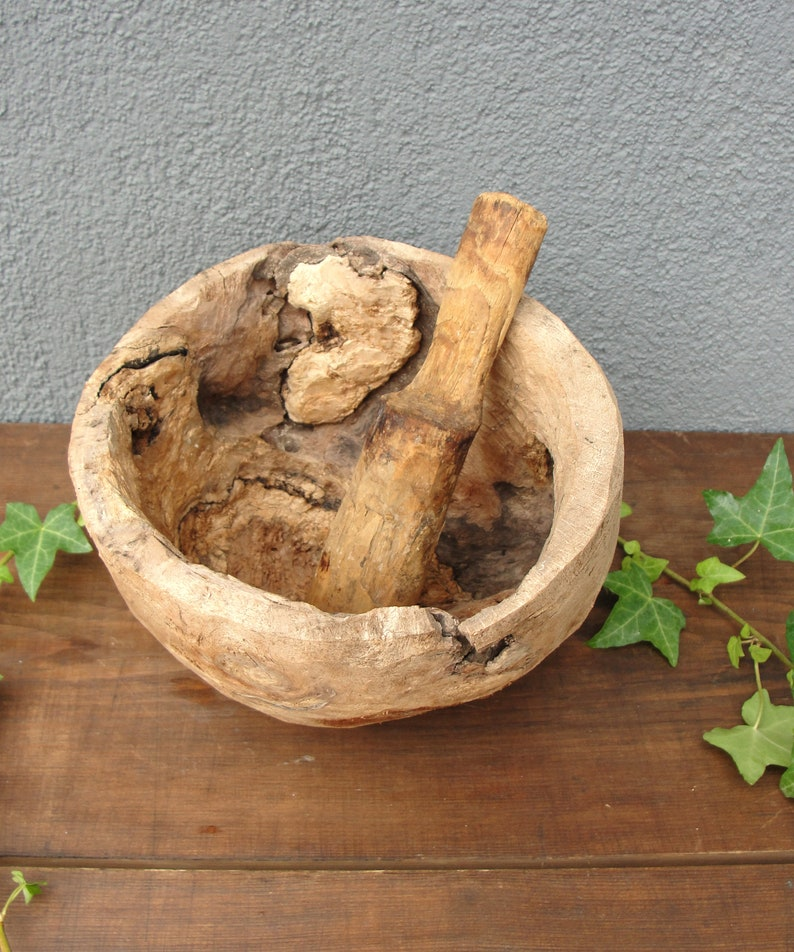 Antique Pestle and Mortar Wooden Pot Vessel Very rare image 0