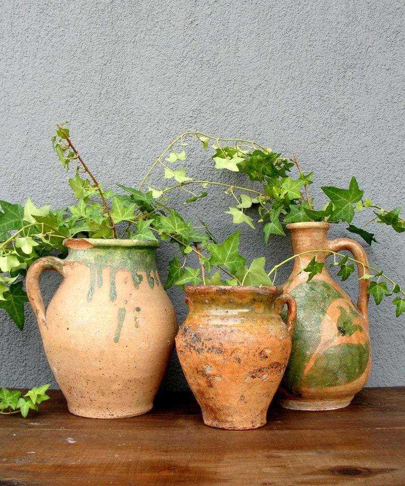 Vintage Clay Pot Earthenware Cauldron Green Pottery Planter image 0