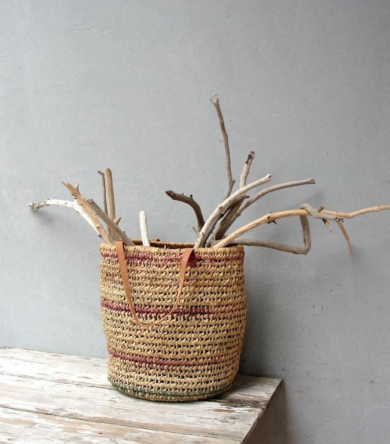 Vintage Basket Bag Farmhouse Basket Rustic Shabby Home Decor image 0