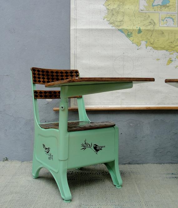 Vintage Metal School Desk And Chair Mid Century Chalk Board Etsy