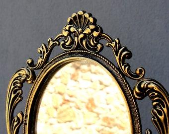 Ornate Brass Mirror, Brass Vintage Table Mirror, Mid century Baroque Mirror, 1960's, Colonial Table Mirror