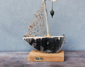 Driftwood Home Decor Boat - The Night Watch - Nautical Driftwood Boat