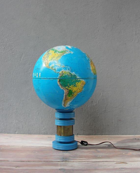 World Globe Lamp Replogle World Horizon 1985 Globe Accent Etsy