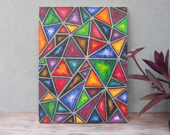 Geometric Rainbow Original Oil Painting