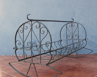Antique Ornate Cradle Iron wrought Crib Rocking Baby Bed early 1900's Collectible Photography Prop