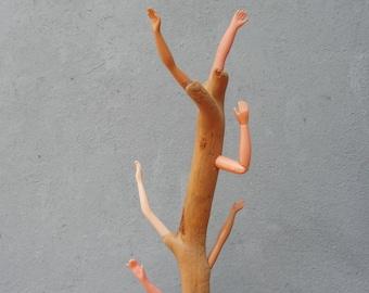 Rain Prayer Tree - Wood, Plastic and Metal Sculpture, Mixed Media Art, Jewelry Rack