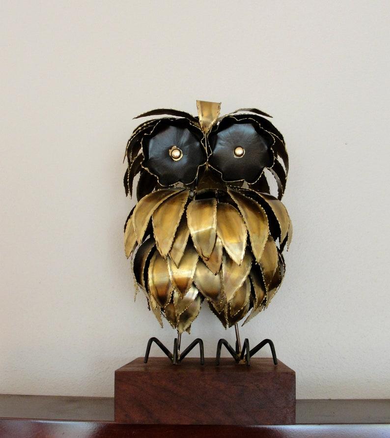 Brutalist Owl Sculpture Brass Mid-century Vintage Metal Owl image 0