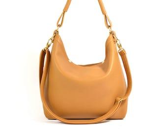 Amelia - Handmade Tan Brown Leather Hobo Shoulder Bag SS18