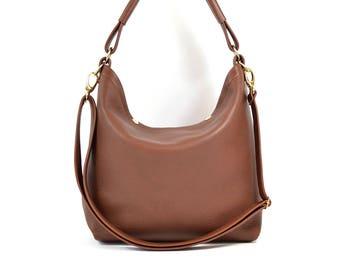 Amelia - Handmade Chestnut Brown Leather Hobo Shoulder Bag SS18
