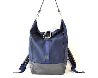Navy Blue Cordura & Leather Backpack Handmade Holdall Bag.