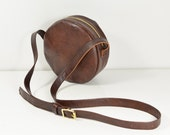 Cerise - Handmade Round Leather Shoulder Bag In Brown AW14