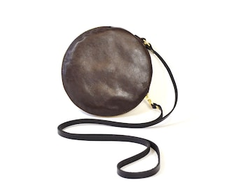 Cici - Handmade Brown Leather Round Shoulder Bag Zip Pouch Purse