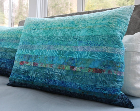 Quilted Standard Pillow Shams in Oceanic Dreams Modern Art Quilt Bed Pillow Covers in Turquoise Blue Ocean Sea Beach Coastal Home Decor