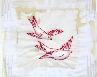 Art Quilt Embroidered Vintage Penny Square Trapunto Birds Mixed Media Collage Encaustic Wax Quilted Fiber Art Interior Designer Home Decor