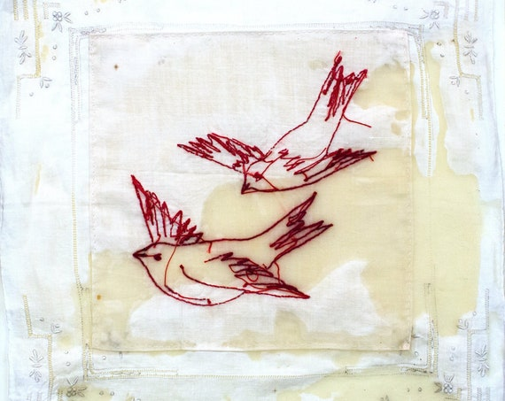 Art Embroidered Vintage Penny Square Reverse Birds Mixed Media Collage Encaustic Wax Quilted Fiber Art Interior Designer Home Decor Wall Art