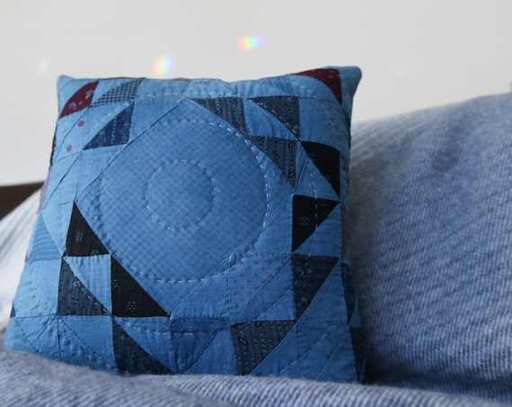 Indigo Ocean Wave of Many Points Quilted Pillow - comes with pillow insert - Pillow 019