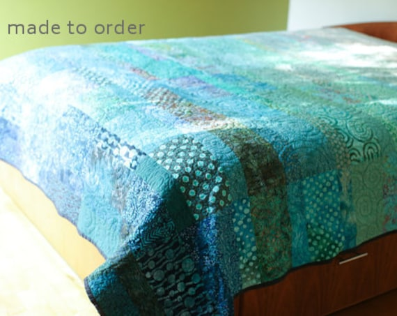 Modern Quilt Custom Made Art Quilt Handmade King Queen Double Twin Size Turquoise Ocean Quilt Contemporary Quilt Fiber Art Sea Bed Quilts