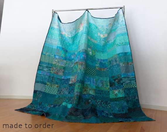 Ocean Rains Extra Large King Size Quilt - Made to Order