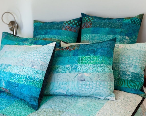 Ocean Pillow, Modern Quilt Pillow Shams, Coastal Decor Patchwork Quilted Bed Pillows, Standard Size, King Size, Euro Size Pillow Covers