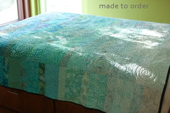 Ocean Rains Queen Size Quilt - Made to Order