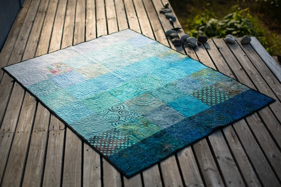 Pooling Rains Throw Size Quilt - Made to Order
