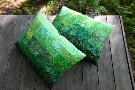 Green Pillow Shams Quilted Pillow Covers Standard Size Pillow Ombre Green Bedroom Modern Quilt Decor Patchwork Pillow Covers Vert Oreiller
