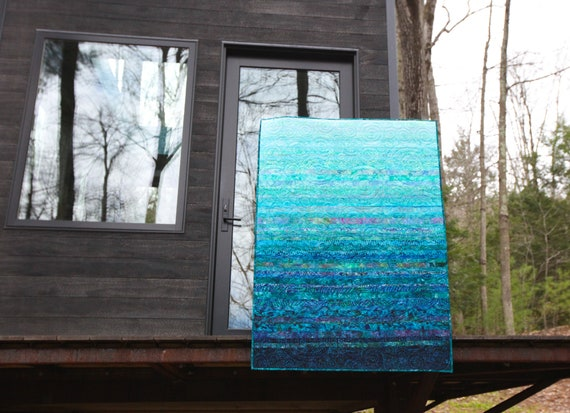 Modern Baby Quilt Handmade Ocean Ombre Turquoise Blue Wall Hanging Quilt Coastal Decor Teal Fiber Art Nursery Modern Baby Shower Gift Quilt