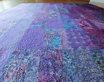 Purple Quilt Handmade Ombre Amethyst Quilted King Queen Double Twin or Throw Sizes Made to Order in Your Size Bedding Bedroom Decor Liliac