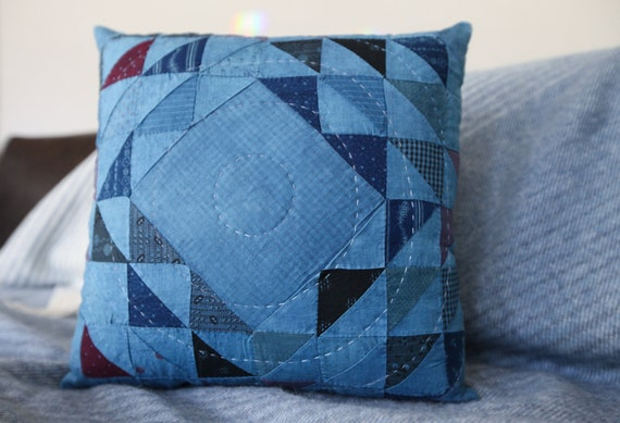 Indigo Ocean Wave of Many Points Quilted Pillow - comes with pillow insert - Pillow 020