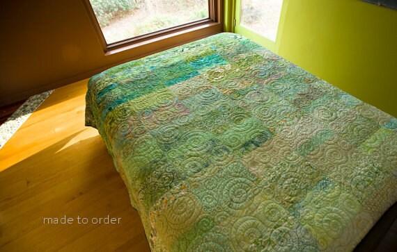 Modern Quilt Green Ombre Art Quilt Handmade King Queen