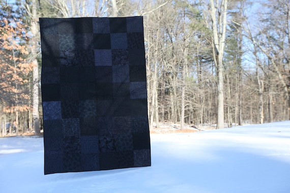 Modern Throw Quilt Custom Made Throw Size Goth Bedroom Goth Gift Modern Minimal Quilt Black Quilt Goth Decor Modern Art Quilts Lap Quilts
