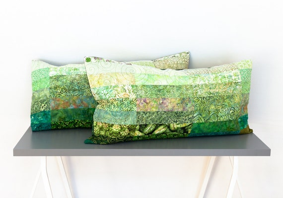 Quilted King Size Pillow Covers Shams Cases Meadow Green Ombre Modern Minimal Handmade Bedroom Decor King Size Quilt Accessory Home Decor