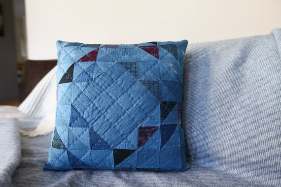 Indigo Ocean Wave of Many Points Quilted Pillow - comes with pillow insert - Pillow 017