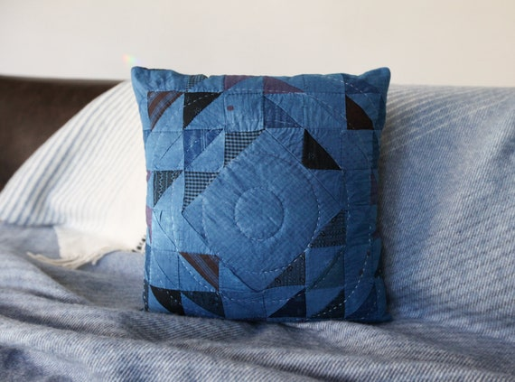 Indigo Ocean Wave of Many Points Quilted Pillow - comes with pillow insert - Pillow 018