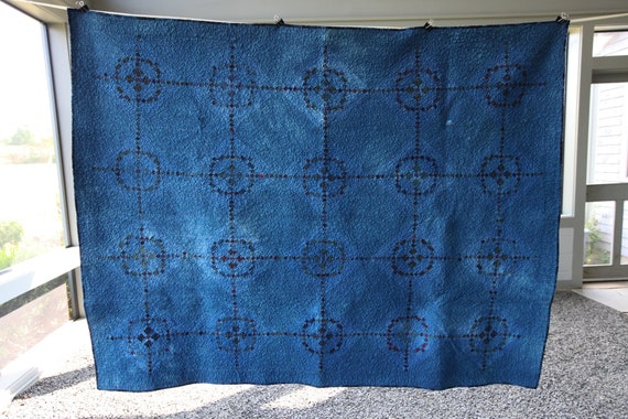 Indigo Dyed Vintage Quilt, Vintage Rescue Quilt, Throw Size Quilt, Antique Patchwork Quilt, Early American Irish Chain Variation Quilt